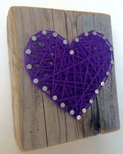 Sweet and small rustic purple string art wooden heart block – A unique gift for Easter bas ...
