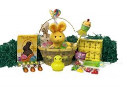 Yellow Easter Basket for Kids and Adults – Easter Gift Basket Filled with Premium Solid Mi ...