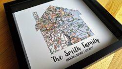 New Home Gift Housewarming Gift Map Art Gift Family Established Sign Last Name Art Family Art Fr ...