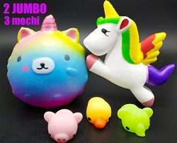 5 Pack Squishies Slow Rising Toys Mochi Easter Bunny Unicorn Jumbo Galaxy Bear Horse Cat Seal St ...