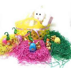 Easter Basket Gift Set: Yellow Easter Basket With Ribbon, Tri-Colored Easter Grass, PlayDoh Spri ...