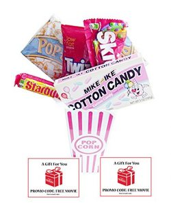 Movie Night Popcorn and Retro Cotton Candy Mike and Ikes Gift Basket With Redbox Movie Rentals G ...