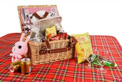Woworld Insulated Picnic Basket Deluxe Wicker Picnic Basket Set Hamper for 2 with Cutlery,Plates ...