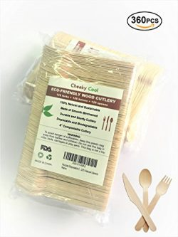 Wooden Disposable Cutlery 360pc set: 120 Forks, 120 Spoons, 120 Knives, 6″ Length, Eco-Fri ...