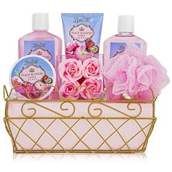 Spa Gift Basket – Bath and Body Set with Peach Blossom Honey Fragrance by Lovestee- Includ ...