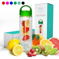 Savvy Infusion Water Bottles – 24 or 32 Ounce Fruit Infuser Bottle – Featuring Uniqu ...