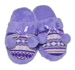 Best Selling Terry Purple Fancy Wide Faux Fur Knitted Fleece Closed Toe Flat Foot House Bed Adul ...