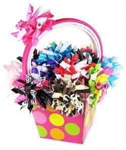 Gift Baskets, HipGirl 25pc Hair Bow Clips Headbands: Grosgrain Korker Ribbon Alligator Hair Clip ...
