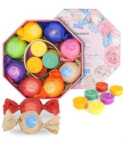 BMK Bath Bombs Gift Set, 8 Essential Oils Bath Fizzies & 6 Aromatherapy Candles, Handmade Na ...