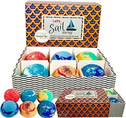 Kids Bath Bombs Gift Set,100% All Natural w/ Organic Shea Butter & Sea Salt Dry Skin Moistur ...