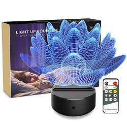Night light 3d Lotus Flower 3d Lamp Optical Illusion Kids Night Light 7 Colors Change LED Touch  ...