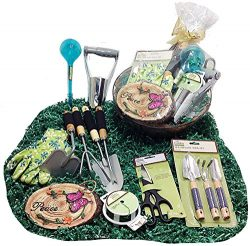 Deluxe Easter or Mothers Day Gardening Tools Gift Basket Set & Hanging Cocoa Lined Planter ( ...