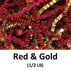 Crinkle Cut Paper Shred Filler (1/2 LB) for Gift Wrapping & Basket Filling – Red Gold  ...