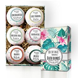 6 XL USA Made Lush Bath Bombs Kit – Organic Coconut oil and Shea Butter – Gifts For  ...