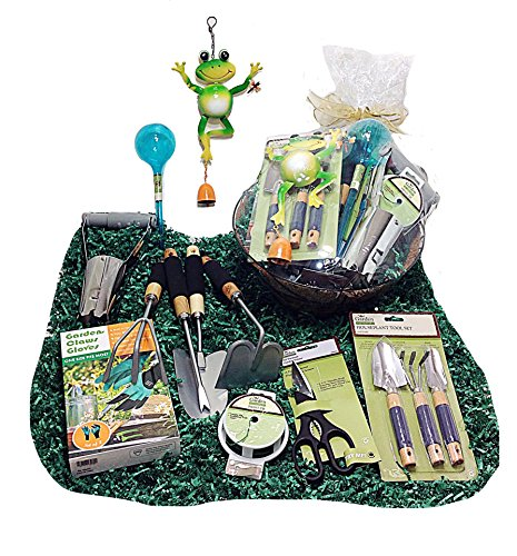 Deluxe Easter or Mothers Day Gardening Tools Gift Basket Set & Hanging Cocoa Lined Planter W ...