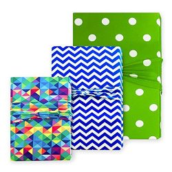 Birthday Gift Wrap – Lime Green, Royal Blue and Multicolor Wrapping for Parties, Anniversa ...