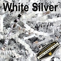 Mighty Gadget (R) 1 LB White Silver Metallic Mix Crinkle Cut Paper Shred Filler for Gift Wrappin ...