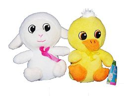 Soft Terry Cloth Spring Animals (White Lamb and Yellow Duck)