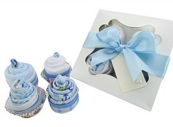 Baby Shower Gifts – Cupcake Set with Face Cloth, Baby Boy Socks, New Baby Clothes and a Bandana  ...