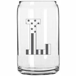L-Monogram- Engraved Beer Can Glass- USA Flag Design- 16 Ounce Capacity