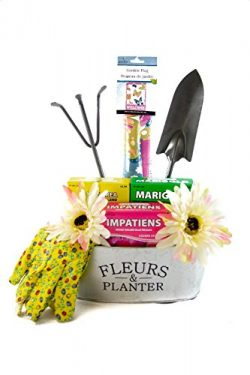Deluxe Mothers Day Gardening Tools Gift Basket Set In Galvanized Flower Tin
