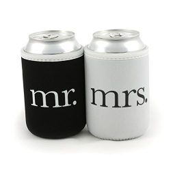 Bridal Shower Gifts – Mr and Mrs Wedding Beer Can Coolers – Premium 4mm Thick Easy-O ...