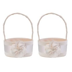 Baoblaze 2pcs Fashion Chic Champagne Satin Flower Basket Bridesmaid Bridal Flower Girls Basket W ...
