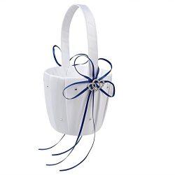 Romantic Wedding Ceremony Party Baskets, Double Heart Rhinestone Decor Wedding Girls Flower Bask ...