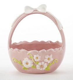 4.5 x 5.5″ Ceramic Egg Basket w/Bow