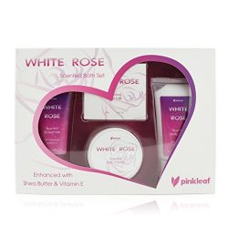 Mothers Day Bath and Body Set – Spa Gift Basket Love White Rose Fragrance by Pinkleaf R ...