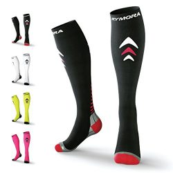 Rymora Compression Socks (Cushioned, Graduated Compression, Unisex for Men and Women, Seamless T ...