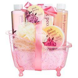 Luxurious & Elegant Bath Gift Set For Women By Freida Joe – Deluxe Pink Peony Tub Spa Gift B ...