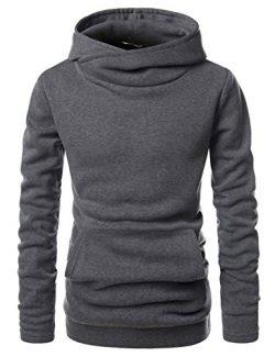 Showblanc (SBNKH510) Mens Stylish Pullover Funnel Collar Fleece Lined Hooded Sweatshirt CHARCOAL ...
