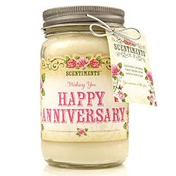 Scentiments ANNIVERSARY Gift Candle LINEN Scented Fragrance 16oz