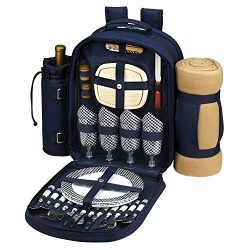 Bold Picnic Backpack with Blanket for 4