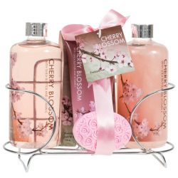 Fragrant Cherry Blossom Spa Gift Set for Women: Luscious Bathroom Set of Shower Gel, Bubble Bath ...