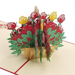 LOVEDD Rose Flower Bouquet Pop Up Card, 3D Card,Mother's Day Card, Thanks Card, Birthday C ...