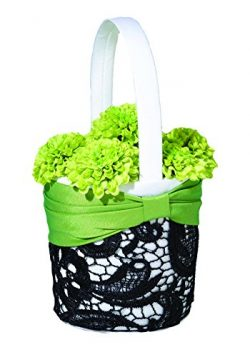 Lillian Rose Green Black Wedding Flower Girl Basket