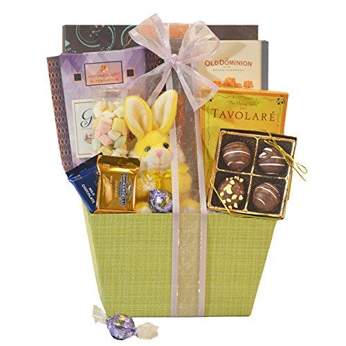 Easter Gift Basket with Chocolate Snacks and Bunny
