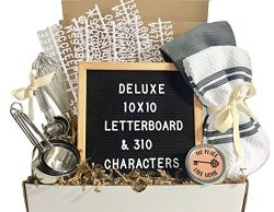 Unique House Warming Wedding New Home Gift Basket with Letter Board, Kitchen Utensils, Candle an ...
