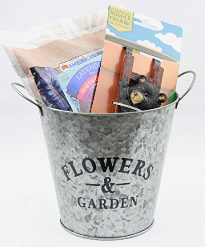 Flower Planter Bundle with Hanging Pot Decoration, Potting Soil, Lavender Flower Seeds