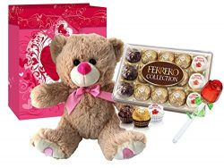 Valentines Day Gift Basket Set   12 inch Teddy Bear Plush, Ferrero Rocher Collection 15 Pieces,  ...