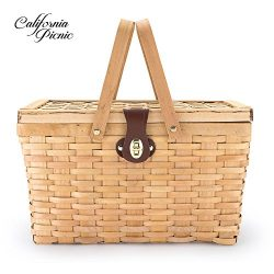 Picnic Basket | Wood Chip Design | Red and White Gingham Pattern Lining | Strong Wooden Folding  ...