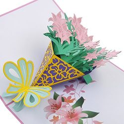 LOVEDD Lily Bouquet Pop Up Card, 3D Card, Mother's Day Card, Thanks Card, Birthday Card, A ...