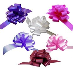 Gift Pull Bows – 5″ Wide, Set of 6, Hot Pink Fuchsia, Purple, Pink, Lavender, White, ...