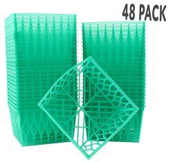 48-Pack Pint Size Plastic Berry Baskets, 4-Inch Berry Boxes with Open-Weave Pattern, Ideal for S ...