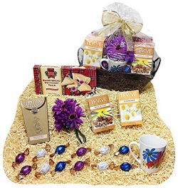 Specialty Teas & Cappuccino Mother Day Gift Basket With Godiva Gourmet Choclate Truffles, Mu ...