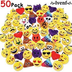 Ivenf Pack of 50 5cm/2″ Emoji Poop Plush Keychain Birthday Party Favors Supplies Mini Pill ...