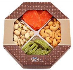 GIVE IT GOURMET, Assorted Dried Fruits and Nuts Holiday Gift Basket (4 Section) – Variety  ...