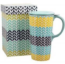 Travel Coffee Ceramic Mug Porcelain Latte Tea Cup With Lid in Gift Box 17oz. Wave-like Pattern b ...